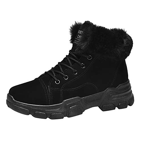Botas Nieve Mujer Invierno Antideslizantes Tacón Grueso Mantener Cálidos Más Terciopelo Corbata De Moda para Mujer Más Botas Gruesas De Algodón Cálido Cortas Zapatos De Algodón