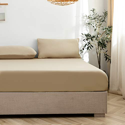 MOHAP ボックスシーツと枕カバー3点セット 高級綿100% ベッドシーツ マットレスカバー 丸洗える ホテル品質(シングル, 黄色ベージュ) 防菌防ダニ防臭