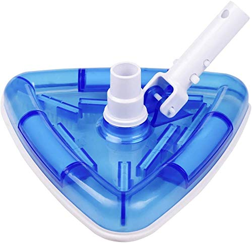 POOLWHALE See-Thru Transparent Triangular Blue Vacuum Head with Swivel and...