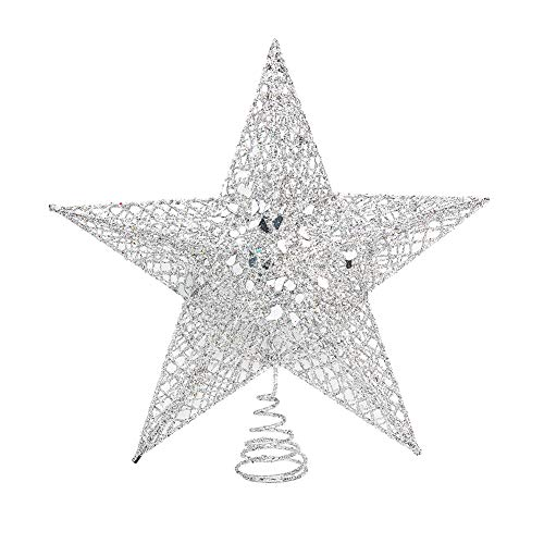 GORGECRAFT Christmas Tree Topper 10inches Metal Glittered Silver Star Xmas Tree Decoration Treetop for Home Decoration 11.8x12x3.74in