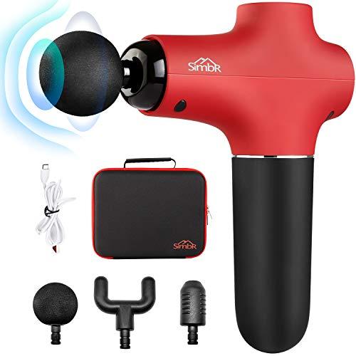 SIMBR Mini Tragbare Massagepistole Massage Gun Elektrisches Muskle mini Massagegerät für Muskelkater und Steifheit mit 3 Massageköpfen und 3 stufen mit Tragetasche