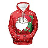 Photo de Bumplebee Sweat à Capuche de Noel Homme Sweat-Shirt Pull Pullover Manches Longues Le père Noël Renne 3D Imprimé Hiver Tops (M,C-Rouge)