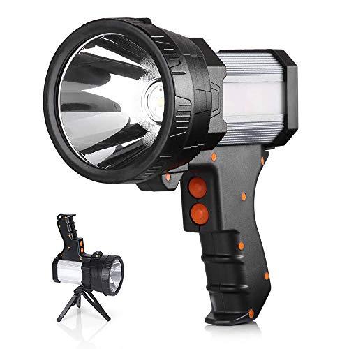REEXBON Linterna LED Recargable Linterna LED Alta Potencia 3 en 1 Súper Brillante 10000mAh Impermeable IPX4 Correa Incluido Linterna Gran Alcance de 800m Ideal para Camping Ciclismo Pesca