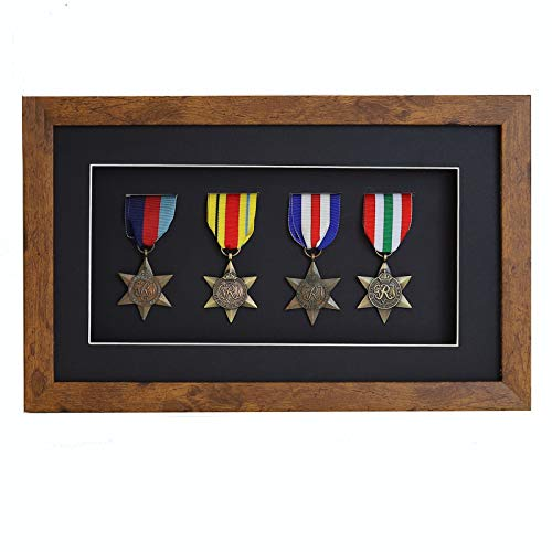 3d Deep Box Frame To Display War/Military/Sports Medals Black White Grey Oak-4 Medals-Medium Distressed Oak Frame With Black Mount