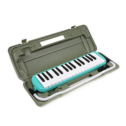 鍵盤ハーモニカ 32鍵盤 オリジナル音階シール付き お名前シール付き (グリーン)