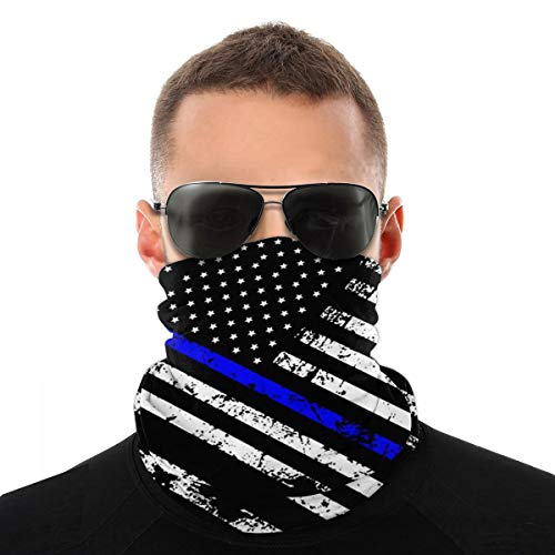 American Thin Blue Line Flag Day Face Mask Cover Cooling Bandana Neck Gaiter For Men Women Balaclava Headband Summer Scarf Sport Headwear For Outdoor Yoga Hiking Raves Biker Cycling Gym Fishing Ski