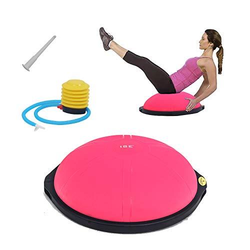 ISE Balance Trainer Ball Mezza Palla Ø 64 cm, Attrezzatura Fitness per Pilates, Yoga, Palestra Domestica,Formazione per Modellare, Max. 300 kg, SY-BAS1002 (Rosa)