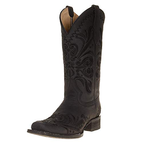 Corral Womens Embroidered Square Toe Boot 6.5 Black