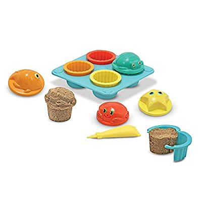 Melissa & Doug Sunny Patch Seaside Sidekicks Sand Cupcake Play Set (Beach and Sandbox Toy, 12 Pieces, Great Gift for Girls and Boys - Best for 3, 4, and 5 Year Olds)