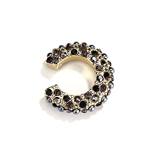 Clip De Oreja Colorido Pave Crystal Metal Ear Cuff-Mujeres Perlas Pendientes Joyas-Negro