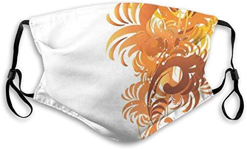 Moda cómoda a prueba de viento, adornos florales, patrón artístico ondulado, hojas espirales, diseño gráfico, decoraciones faciales impresas para unisex S