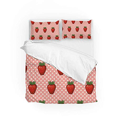 Soft Quilt Bedding Set Strawberry And Hearts Duvet Cover with Pillowcases Set 2 PCS 155 x 220 CM, Full Size