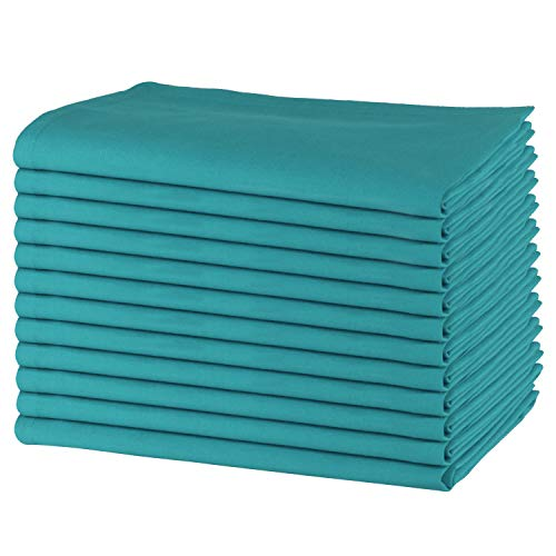 SweetNeedle - Paquet de 12 - Serviettes de table surdimensionnées 100% coton 50 CM x 50 CM (20 po x 20 po), Sarcelle - Tissu épais pour une utilisation quotidienne avec coins arrondis