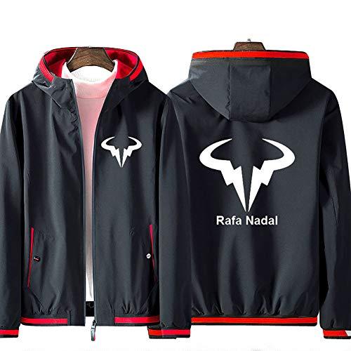 73HA73 Felpa da Uomo con Cappuccio e Zip Tennis Grand Slam Rafael Nadal Jacket ATP No.1 Manica Lunga Confortevole Sweatshirt Unisex Giacca (No Shirt),Black-Red,L(168-170cm)