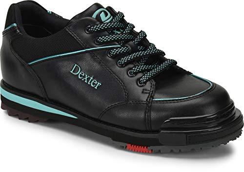 EMAX Bowling Service GmbH MAXIMIZE YOUR GAME Dexter SST 8 Pro - Schwarz/Türkis - Bowlingschuhe für Damen mit Wechselsohle für Rechts- und Linkshänder Größe 39,5