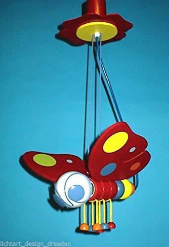Waldi Schmetterling Kinderlampe Pendelleuchte Rot max. 60W Holz E27 230V