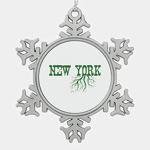 JamirtyRoy1 Christmas Ornament, New York Tree Roots Green Word Art Snowflake Pewter Christmas Ornament, Xmas Tree Hanging Decorations, Home Decor, Keepsake Gift, 3 Inch Snowflake Ornament