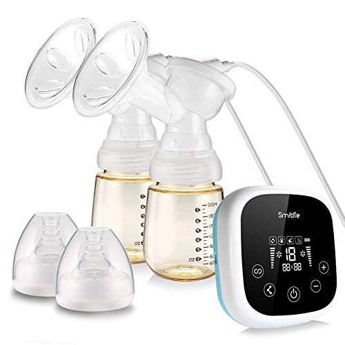 Smibie Double Electric Breast Pump, Rechargeable Portable Milk Pump, BPA-Free, 4 Modes & 18 Levels Suction, Pain-Free Feeding Pump, USB Charging, Quiet, Anti-Backflow Smart Breast Pump