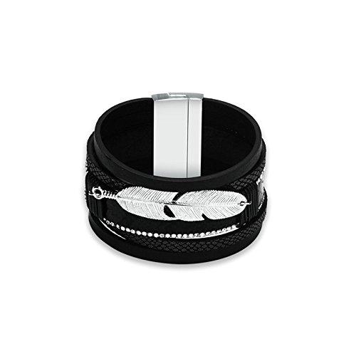 KNSAM - Pulsera de Mujer Aleación Ancho de pluma de cordón trenzado 4 CM para mujeres y niñas Regalo de Brazalete Negro