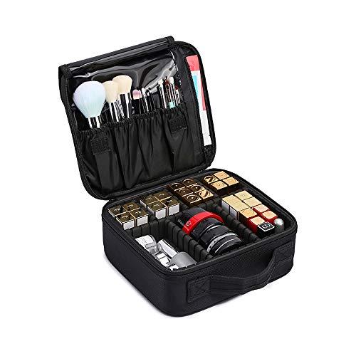 Kosmetiktasche,LOSMILE Reise Make-Up Tasche,Professionelle Kosmetischer Organizer Tasche Kosmetikkoffer Wasserdicht Schminktasche mit Einstellbaren Teiler. (m-schwarz)