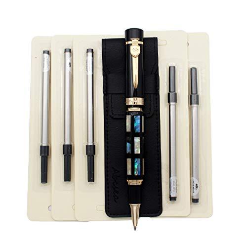 Abcsea 1 pieza Jinhao concha x650 plumas bolígrafos rollerball elegantes, bolígrafos fineliner de punta fina 0.5mm, con 5 piezas recambios de espiral de 0,5 mm para boligrafos