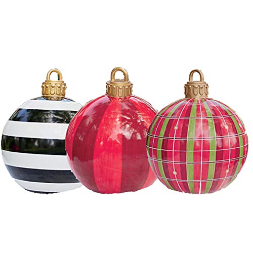 23.6inch Giant Commercial Christmas Ball Ornament, Huge Balloon for Christmas Yard Decoration, Outdoor&Indoor,Christmas Tree Decoration (Red+Black/White+Lattice)