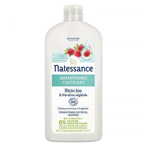 Natessance Shampooing Fortifiant Ricin Bio/Kératine Certifié Biologique Cosmos Organic sans Sulfates/Huile de Palme Flacon 100% Végétal 500 ml