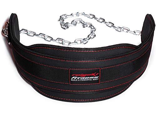Raigeki Fitness Dip Gürtel mit Kette, 106cm Stahlkette, (+ Trainingspläne) - Gewichte Gürtel für Krafttraining, Bodybuilding, Gewichtheben & Klimmzüge für Frauen und Männer