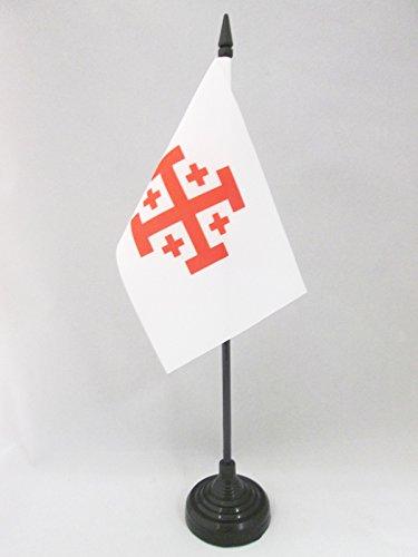 AZ FLAG TISCHFLAGGE Orden VOM HEILIGEN Grab ZU Jerusalem 15x10cm - OSSH TISCHFAHNE 10 x 15 cm - flaggen