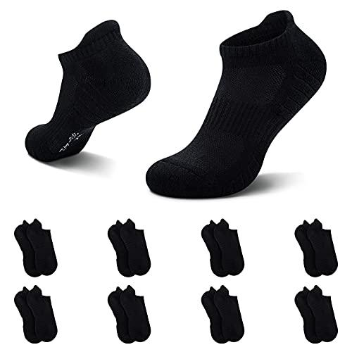 NUOZA Calcetines Hombre Mujer Algodon Deporte Cortos Tobilleros Pack De 8--Negro,43-46
