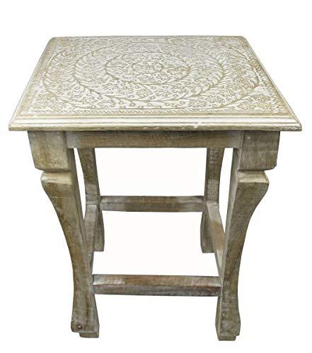 Saharashop Indischer Tisch aus Holz Nr. 1, Beistelltisch Couchtisch aus Holz massiv Oriental 35 x 31 cm   Traditionnel Tisch aus Massivholz Natur/Weiß für Ihr Wohnzimmer