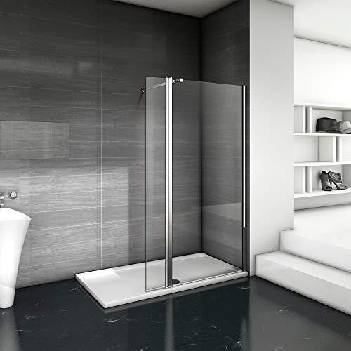 Paroi de douche 140x200cm avec un volet retour en 40cm paroi de douche à l'italienne avec une barre de fixation extensible