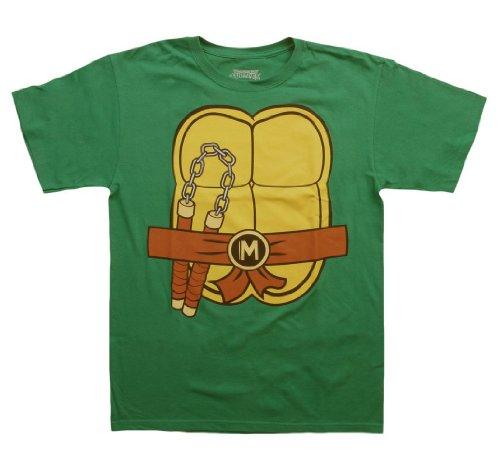 Teenage Mutant Ninja Turtles TMNT Michelangelo Kostüm Grün Erwachsene T-shirt Tee (Large)