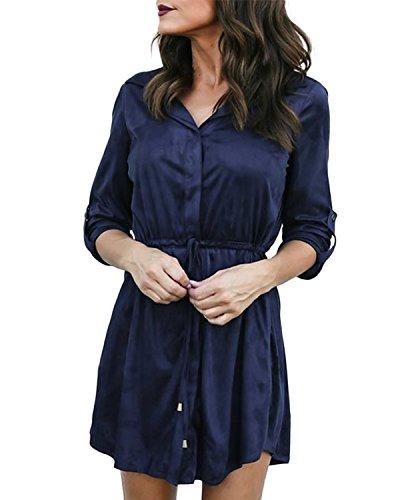 Auxo Donna Abiti Corti Camicia Lunga Donna Camicetta Grandi Taglie Manica Lunga Casual Camicie Loose Shirt Elegante Basic Blusa 04-Blu S