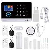 Astibym Sistema de Alarma de Seguridad gsm y WiFi 433MHZ Kit de Sistema de Alarma inalámbrico Sistema de Alarma de vídeo Inteligente para Seguridad del hogar(UE (100-240v))