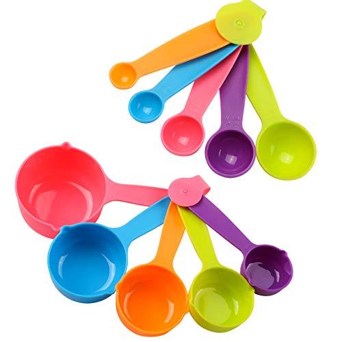 LIHAO 10 x Meßlöffel Set Kunststoff Teaspoon Bunt Tablespoon Löffel für Messen von Gewürzen, Zucker, Salz, Öl, Kaffee, Weizen (MEHRWEG)