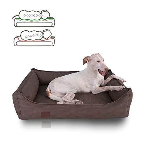 DOGGYFIT orthopädisches Hundebett Rocco, Kunstleder besonders robust, Farbe Braun 70 x 55