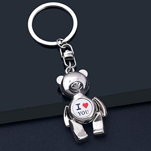 Neaer Keychain Metal Bear Keychains Alloy Animal Teddy Key Chain for Girl Key Rings Women Handbag Charm Accessory drop shipping Key Ring (Color : 2)