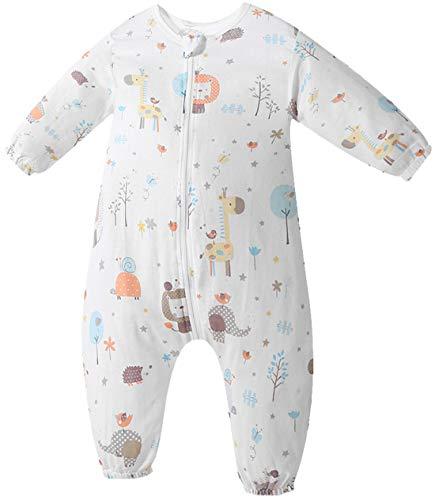 Chilsuessy Unisex Baby Sommerschlafsack mit Füßen Kleine Kinder Schlafsack mit Beinen Unwattiert 100% Baumwolle, Bär, 70/Baby Hoehe 75-85cm