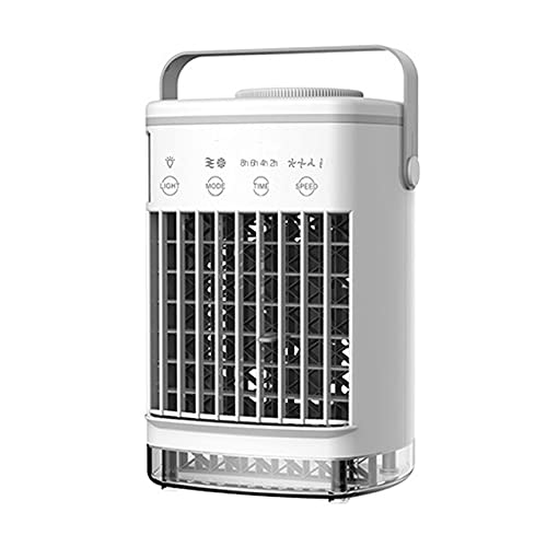 Mini acondicionador de Aire portátil, con Ventilador de refrigeración con Mango, Enfriador evaporativo, purificador con luz LED de 7 Colores, Adecuado para habitación, Familia, Dormitorio