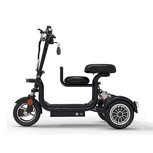 EWYI 3 Ruedas Plegables Scooters De Movilidad, Sillas De Ruedas Eléctricas Móviles con 2 Asientos, Velocidad De 22 Km/h, Triciclo Eléctrico Ligero para Adultos Mayores Di black-35km