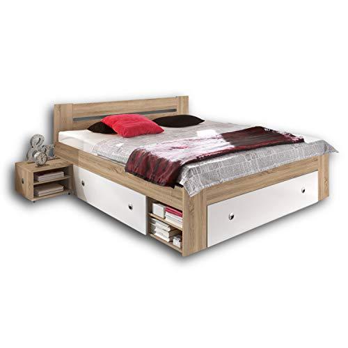 Stella Trading STEFAN Doppelbett Bettanlage 140 x 200 cm mit 2x Nachtkommoden - Schlafzimmer Komplett-Set in Eiche Sonoma Optik, weiß - 145 x 86 x 204 cm (B/H/T)