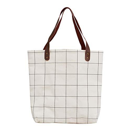 House Doctor Tasche/Shopper, Squares, Weiß, l: 45 cm, w: 10 cm, h: 40 cm