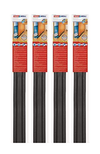 tesamoll Zugluftstopper für Glatte Böden in Grau / Zuschneidbare Türbodendichtung für Schutz vor Zug und Lärm / 95cm x 25cm (4 Stück Anthrazit)