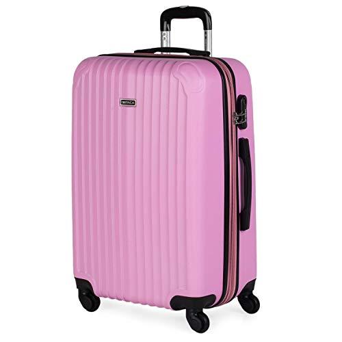 ITACA - Maleta de Viaje Trolley rígida 4 Ruedas 66 cm Mediana de abs. Dura Extensible y Ligera. Estudiantes y Profesionales Bonito diseño. t71560, Color Rosa