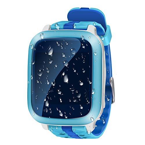 Kider GPS-Smartwatch Digital Camera Watch with Games,SOS,WLAN and 1.44 inch Touch LCD,Digitalkamera Uhr für Jungen Mädchen mit Silikon-Armband (Wasserdicht, Blau-DS18)