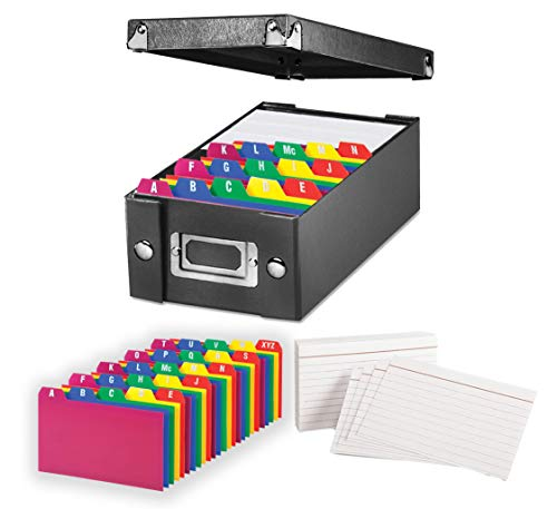 """Index Card Storage Box, Black, 3x5"""" – with Poly Card Guides, A-Z, 3 x 5-Inch, and Heavy Weight Index Cards, 3"""" x 5"""", Ruled, White, 100/Pack (3x5 Inch)"""