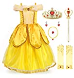 JerrisApparel Costume da Principessa Belle Deluxe Vestito da Festa Fantasia Le Ragazze Si Vestono (3 Anni, Giallo 2 con Accessori)