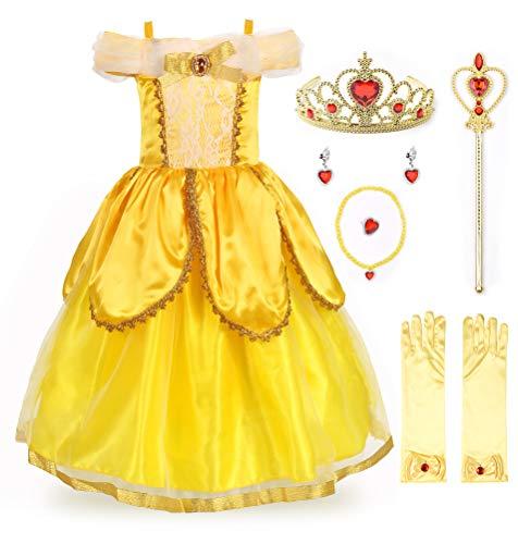 JerrisApparel Costume da Principessa Belle Deluxe Vestito da Festa Fantasia Le Ragazze Si Vestono (7 Anni, Giallo 2 con Accessori)