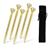 ETCBUYS 5 Pack Diamond Pens - Gold, Gold fancy pens for women, pen with diamond on top, Rhinestones Crystal Metal Ballpoint Pens Black Ink (Gold)